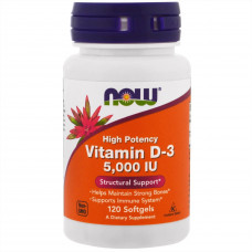 NOW Vitamin D-3 5000 120 капсул